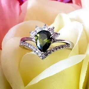Jewelry - Peridot and White Topaz Sterling Silver Ring